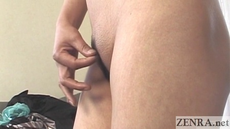 profile angle landing strip pubic hair on mature japanese woman