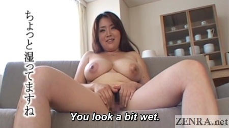 embarrassed spread japanese milf hands over crotch