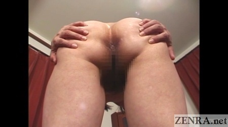 spread butt cheeks japanese milf