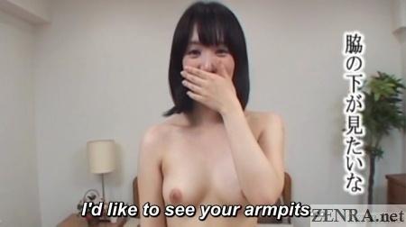 pale japanese amateur asked to show armpits
