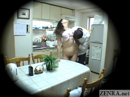 nearly naked japanese housewife with clothed exchange student