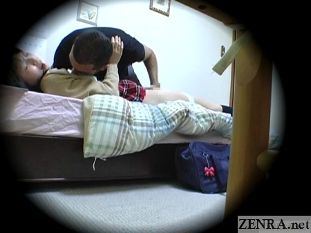 supine japanese teen with foreign student