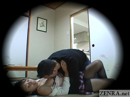 exposed japanese schoolgirl on floor breasts licked