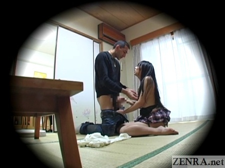 topless schoolgirl with bottomless foreigner