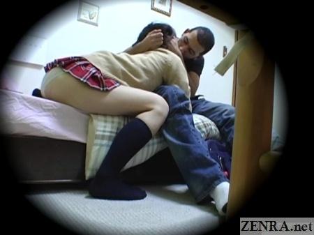 japanese schoolgirl kisses foreigner