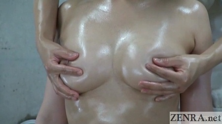 busty japanese woman has sensual breast massage