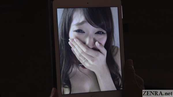 crying japanese wife tablet video for distraught husband