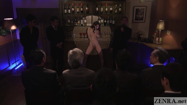 naked japanese wife masturbates for audience of clothed men