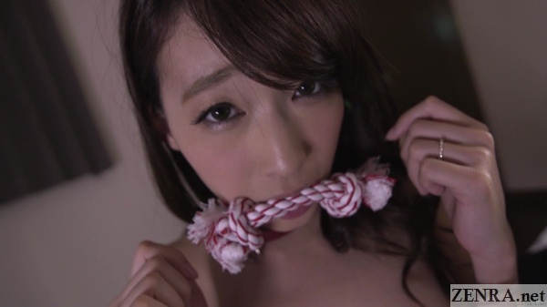 hasumi kurea masochistic dog leash in mouth