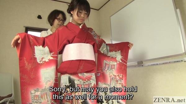 japanese woman in beautiful red kimono