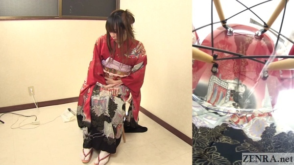 japanese woman holds stomach while peeing