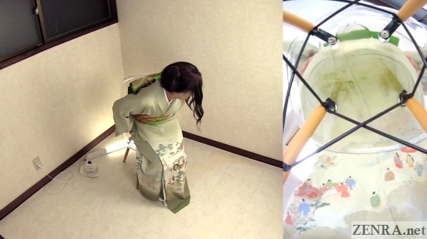 amateur in kimono wets herself