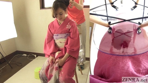 amateur pees in kimono