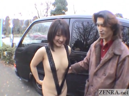 extremely exposed pale japanese woman outside