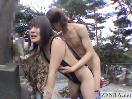 japanese couple outside sex in graveyard