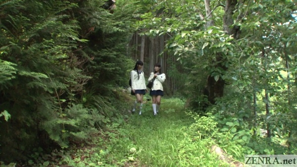 japanese schoolgirls walking through forest
