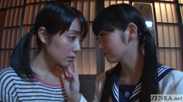 nighttime romance between japanese schoolgirls