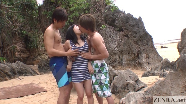 japanese beach threesome begins
