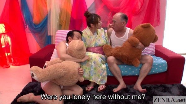 old men with teddy bears and yui hatano in colorful kimono