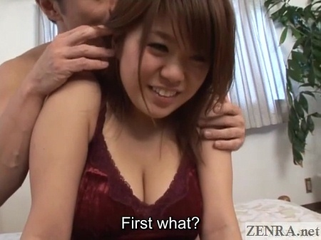 shy amateur in camisole with actor