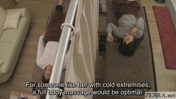 overhead view japanese double bed massage clinic