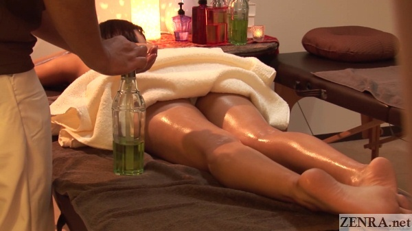 prone japanese oil massage rear shot
