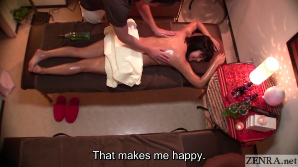 overhead view oiled up prone japanese back massage