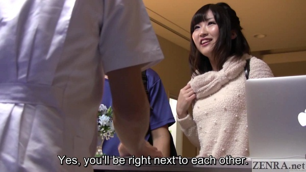 japanese student couple arrive for massage