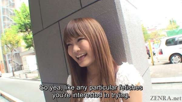 laughing japanese gyaru asked about fetishes