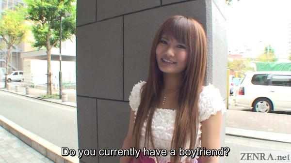 outdoor street interview with japanese gyaru boyfriend question