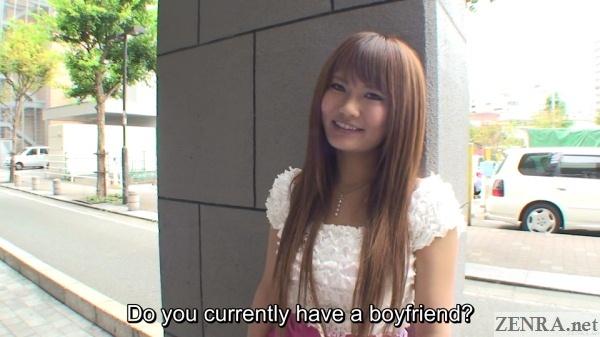 outdoor street interview with japanese gyaru boyfriend question