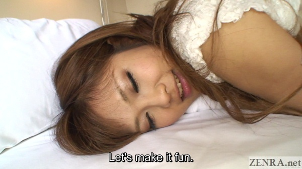 smiling tan japanese amateur ready for anal sex face close up