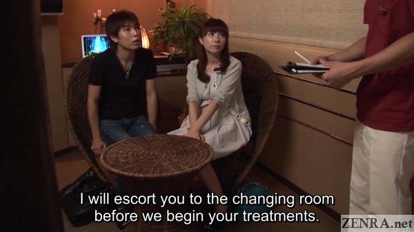 japanese couple arrive for massage course