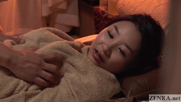 japanese female customer surprise breast massage
