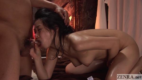 masturbating japanese woman gives blowjob