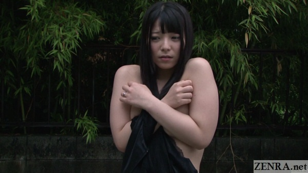 embarrassed ai uehara strips naked outside