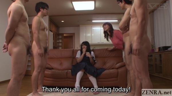 clothed japanese schoolgirl with a group of naked men