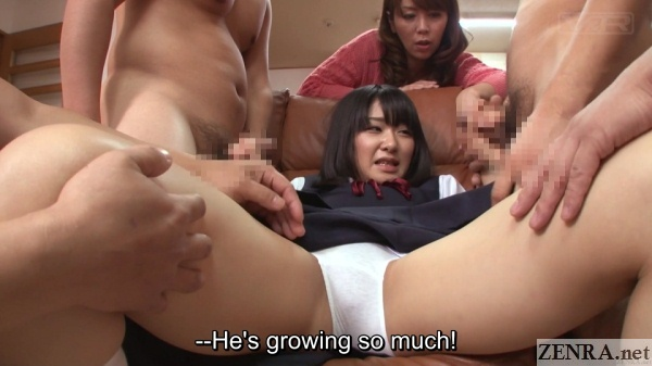 spread japanese schoolgirl double handjob