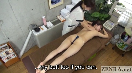 overhead view japanese topless massage begins