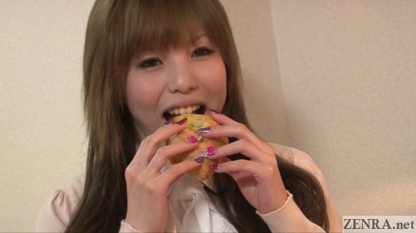 japanese amateur color contact lenses eating bread