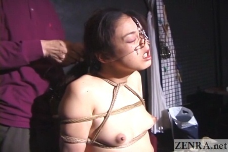 cmnf topless japanese woman bound with nose hooks