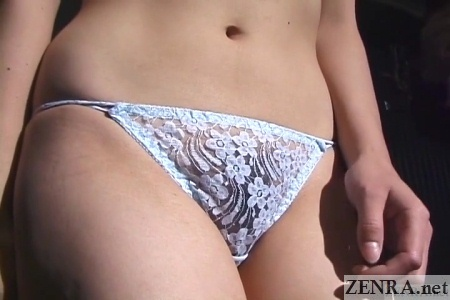 older japanese woman in panties close up