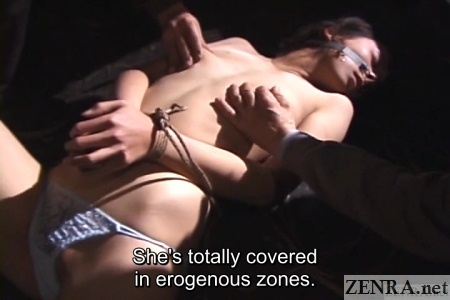 old japanese men caress topless bound woman