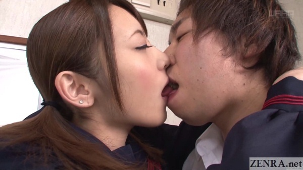 passionate kissing between japanese students