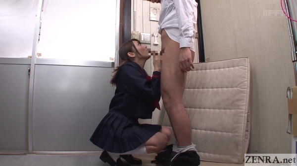 secret blowjob in japanese school