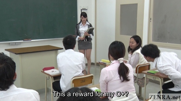 rei mizuna teacher in risque outfit surprised students