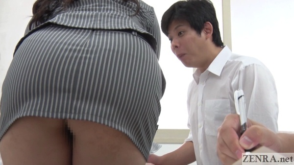 bottomless japanese teacher leaning over