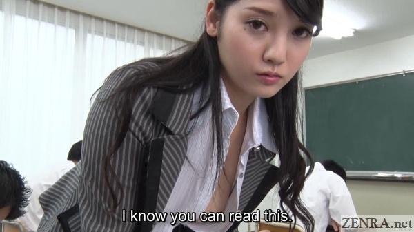 japanese teacher leaning over no bra