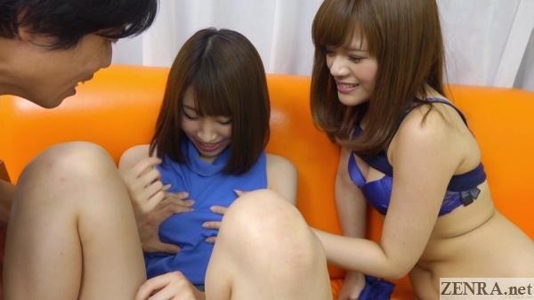 bisexual japanese friends breast groping