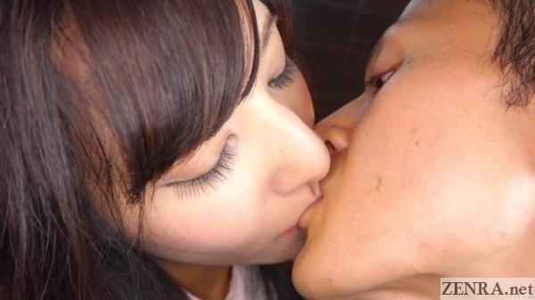 self shot japanese deep kissing